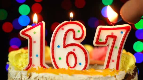 Number 167 Happy Birthday Cake With Burning Candles Topper.