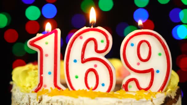 Number 169 Happy Birthday Cake With Burning Candles Topper.