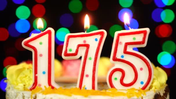 Száma 175 Boldog Születésnapot torta égő gyertyákkal Topper.
