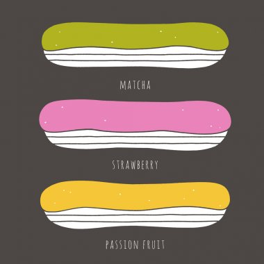 Set of flat vector eclairs