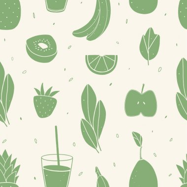 Repeated background made of smoothie ingredients. Cropped with clipping mask stock vector