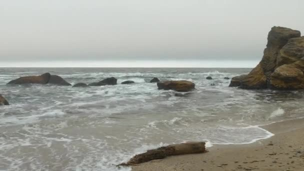 Wooden timber on sandy beach with choppy rough sea, dense gray clouds sky.