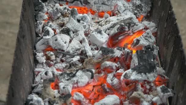 Spalování dřeva a uhlí v pánve. Příprava šíš kebab gril a gril