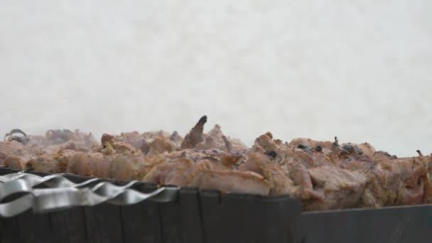 Masový špíz na grilu. Omáčka kape na kebab. Výměna jednoho grilování.
