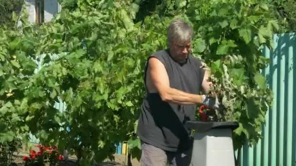 Zahradník používá skartovačku na větvích. Výroba pilin
