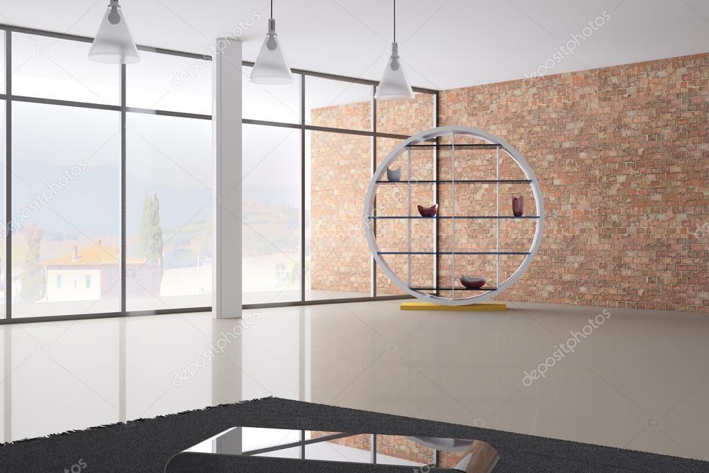 Modern Empty Room 3D Interior Render U2014 Fotografia De Stock