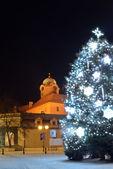 Vánoční strom na hlavním náměstí v Poděbradech, Česká republika