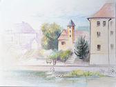 Barva tužka skica hradu, Poděbrady, Česká republika
