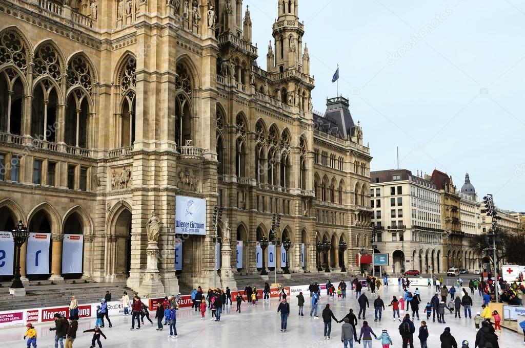 Vienne autriche 15 f vrier 2014 patinage sur glace for Piscine de vienne