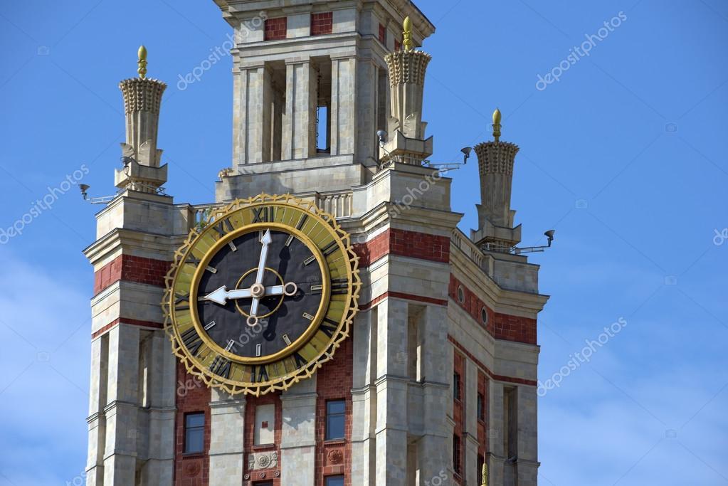 e6ecf06d Часы на башне Московского государственного университета. Москва, Россия —  стоковое фото
