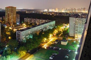 City Balashikha during the thunderstorm at night. Balashikha, Moscow region, Russia.