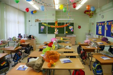 Decorated classroom for the first graders. City Balashikha, Russia.