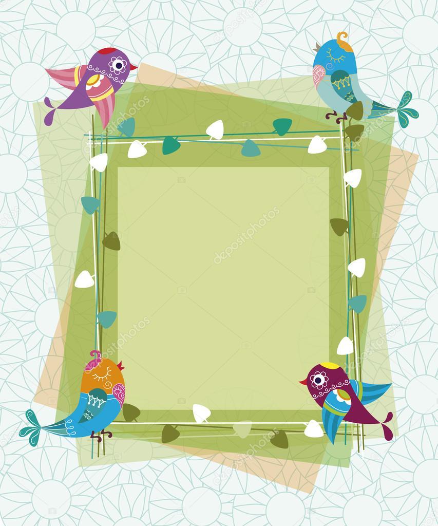 Rahmen aus Ästen und lässt mit Vögel und Blumen in der — Stockvektor ...