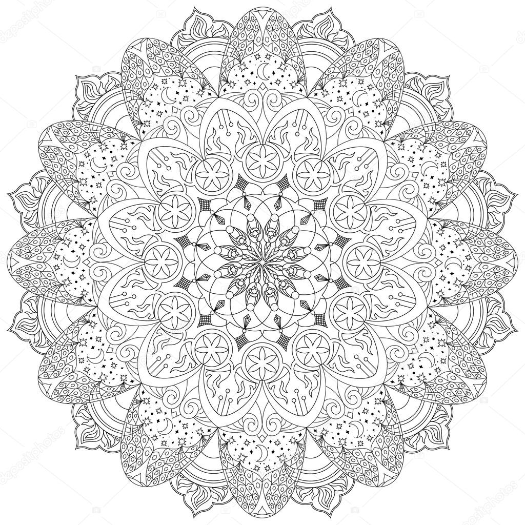 Мандала, круговой орнамент со звездами, месяц, огонь и ...