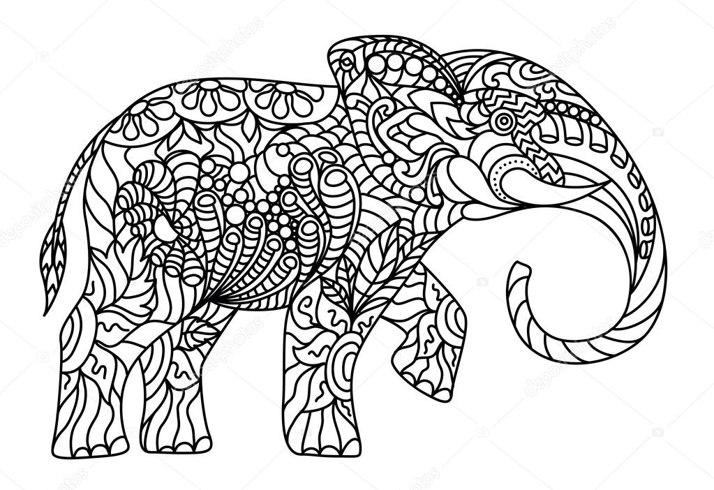 coloriage anti stress elephant
