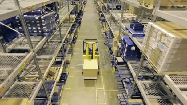 Man on forklift riding between racks in warehouse