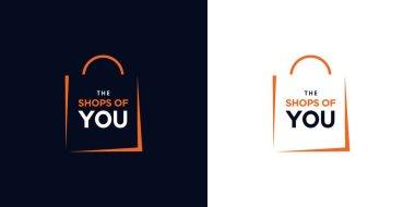 Modern and elegant shopping bag logo icon