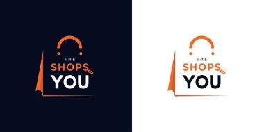 Modern and elegant shopping bag logo design icon