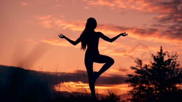 In armonia con se stessi e il mondo. Sagoma di donna in piedi in posa yoga durante un tramonto eccezionale.