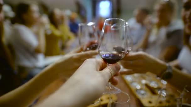 ochutnávka vín. Ruka muže drží sklenici červeného vína
