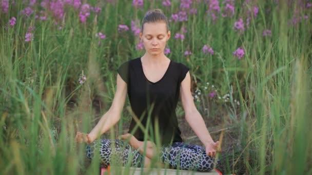 schöne junge gesunde Frau macht Yoga-Übungen