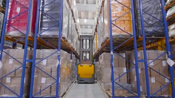 Egy hatalmas raktár tele raklapokkal. Nagy mennyiségű áru logisztikája és tárolása.