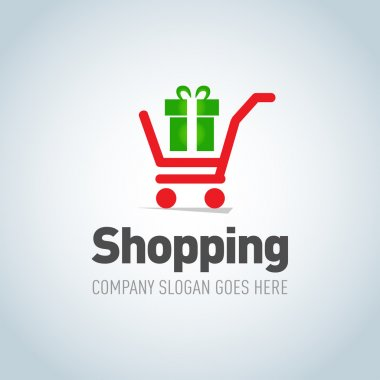 Shopping cart with present logo