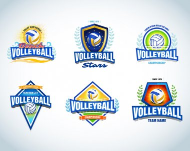 Volleyball logo templates set