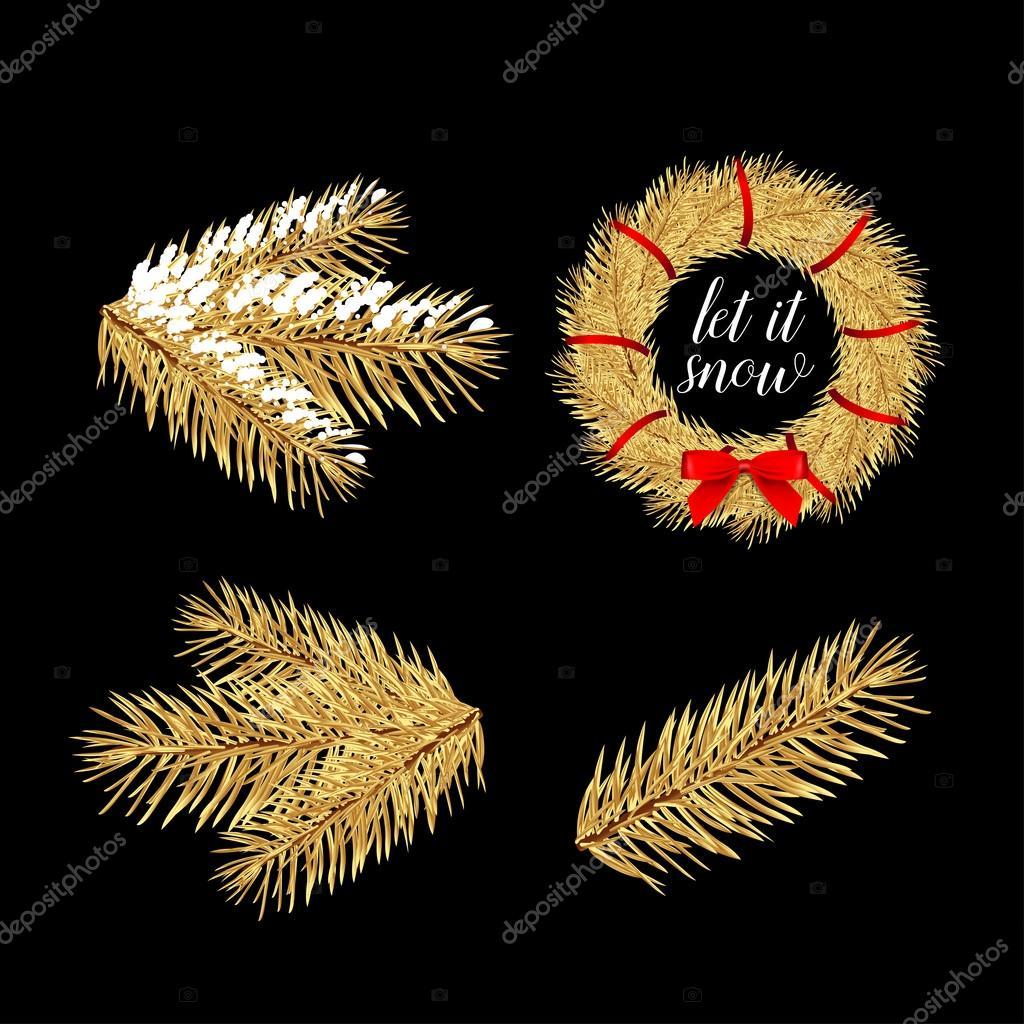 golden pine tree branches stock vector ideasign 110754096