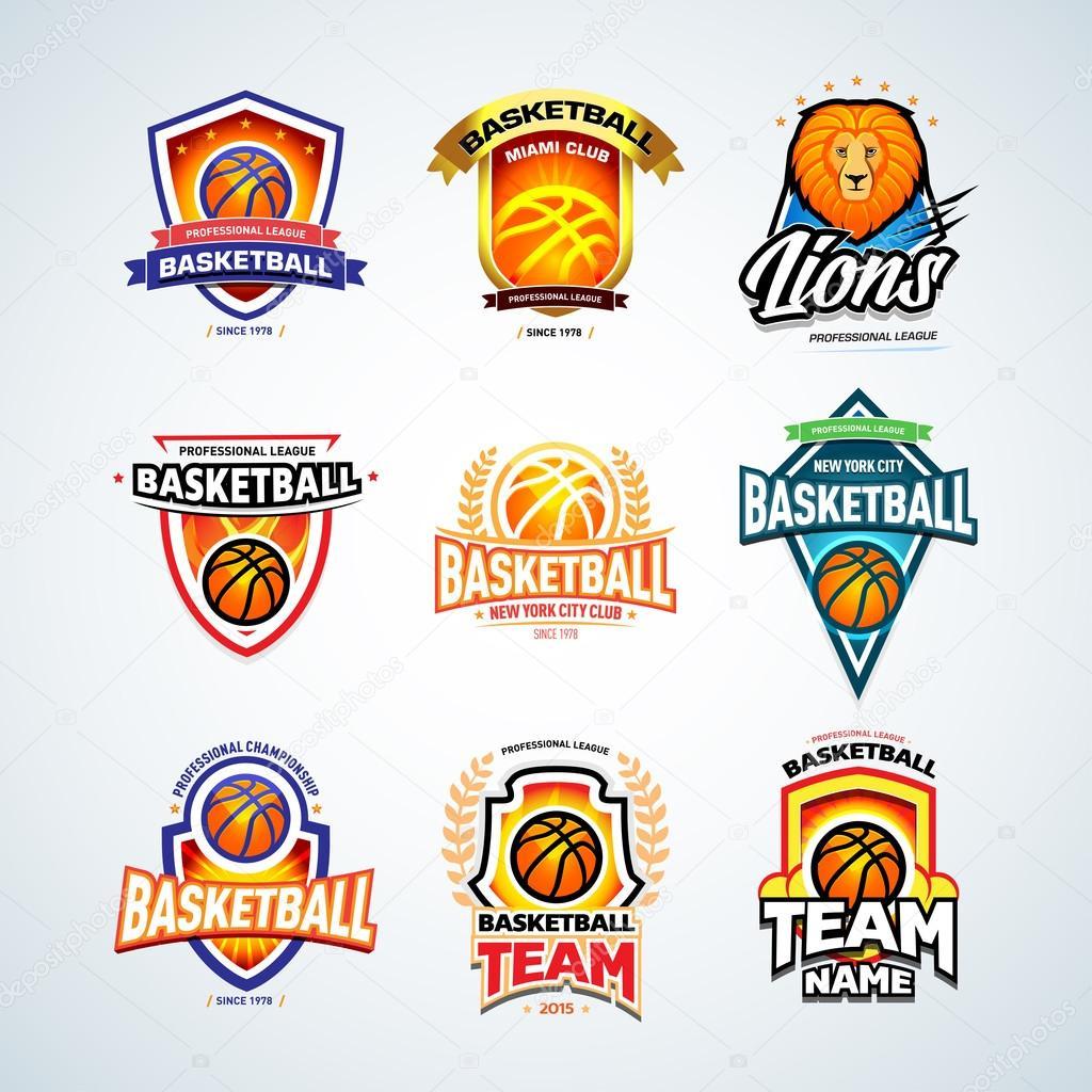 basketball logo templates stock vector ideasign 110758414