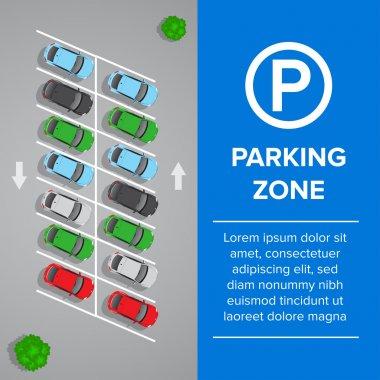 Parking lot, parking sign