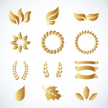 Golden laurel leaves set
