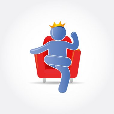 Man (king) on red chair