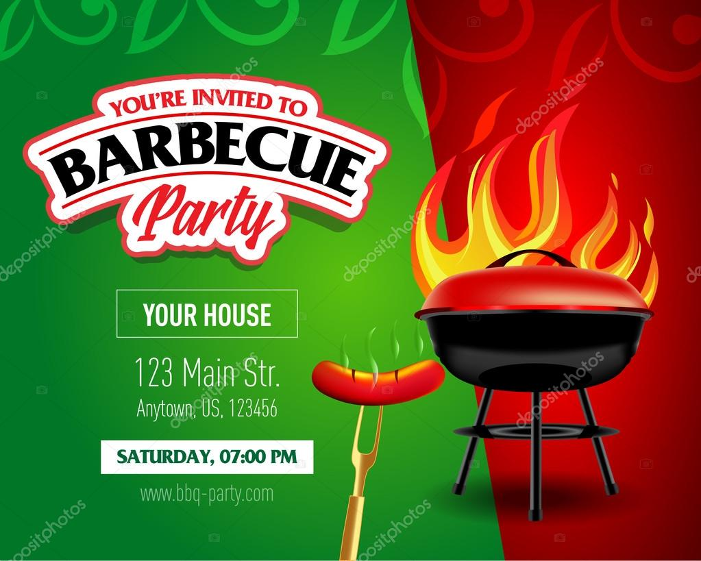 Barbecue party design template — Stock Vector © ideasign