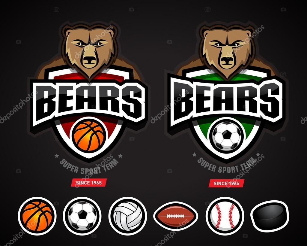 bears sport logos team template stock vector ideasign 110761044