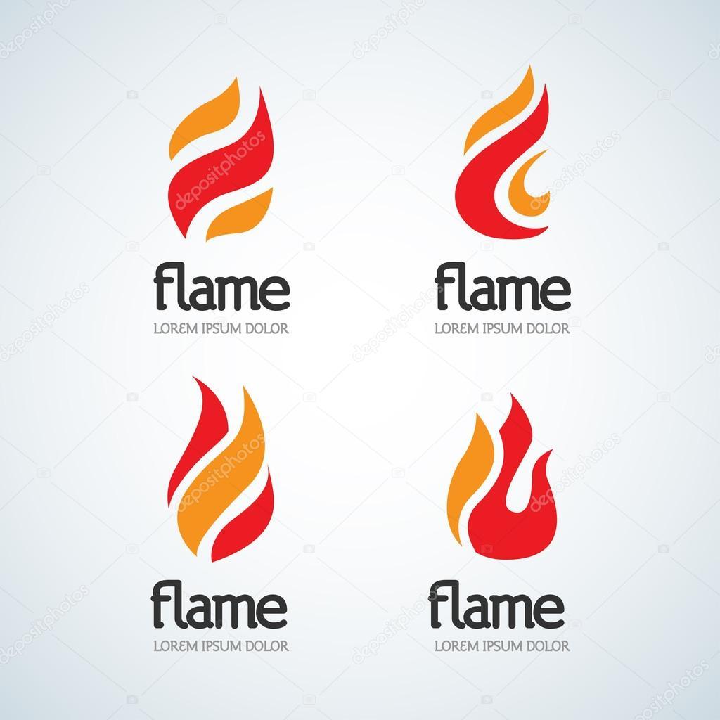 Fire Flame Logo design template set — Stock Vector © ideasign #121715522