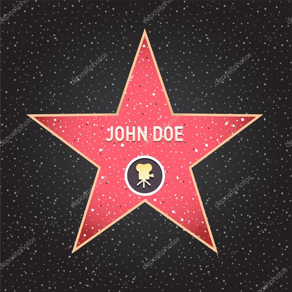 Hollywood walk of fame: recording star in vector stock vector