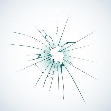 Broken frosted window pane