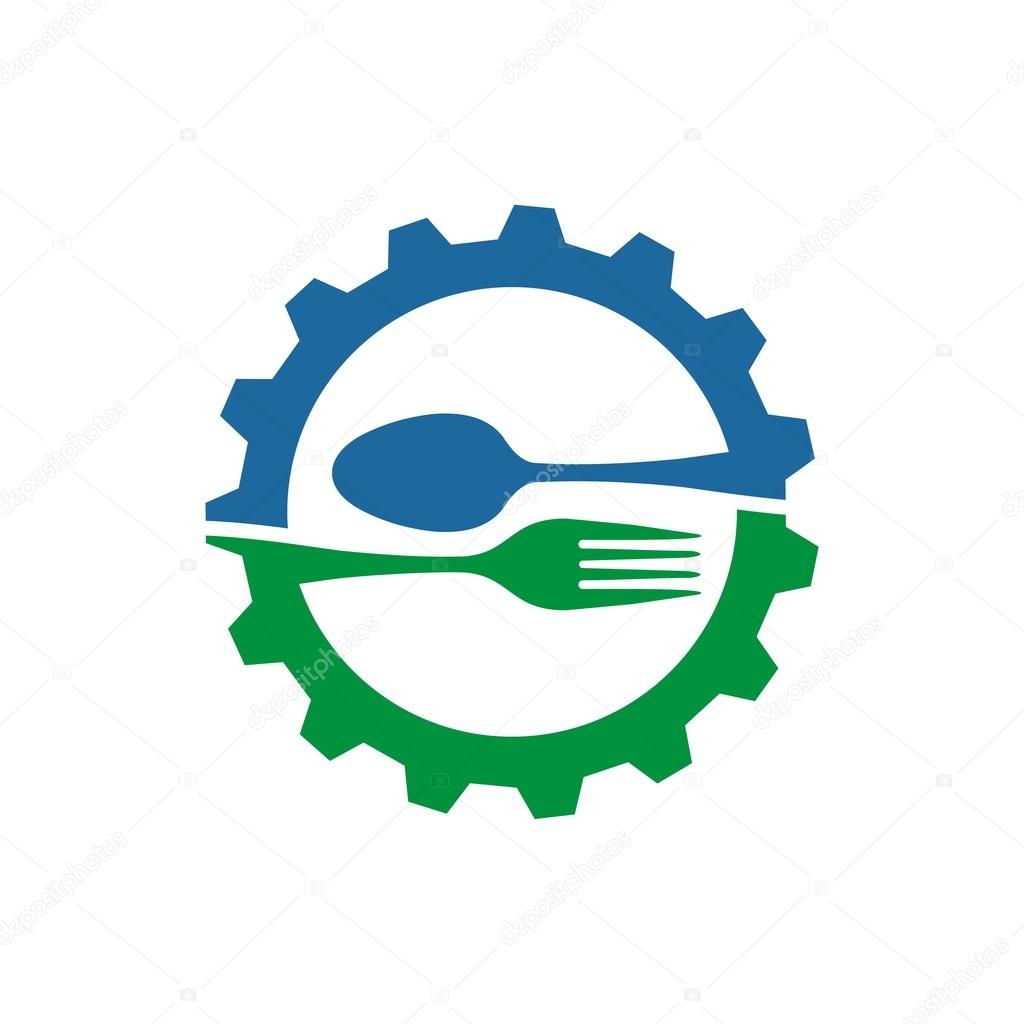 gear with spoon and fork logo food kitchen vector — Stock Vector ...