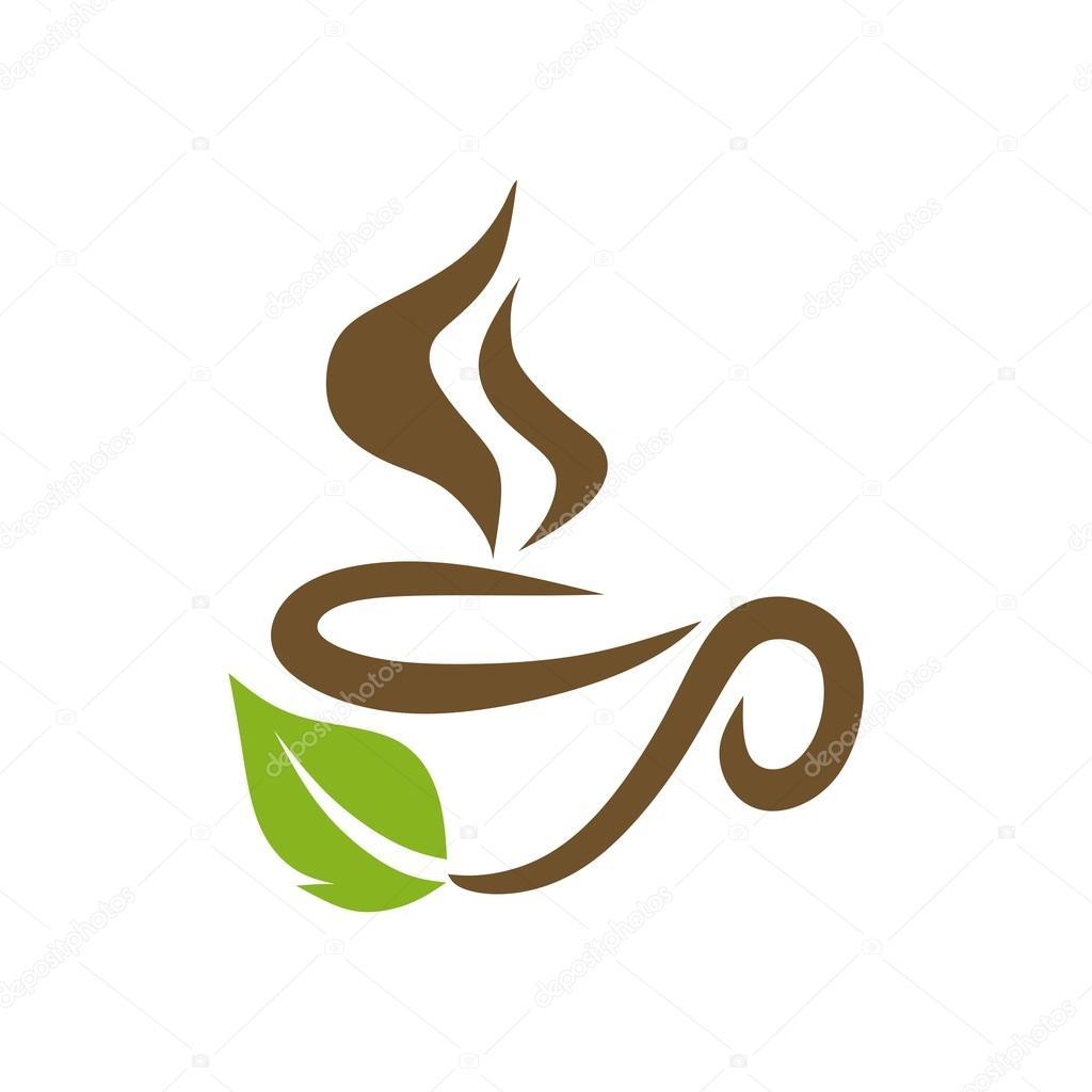 logo sketch of coffee tea cup hot chocolate granule vector