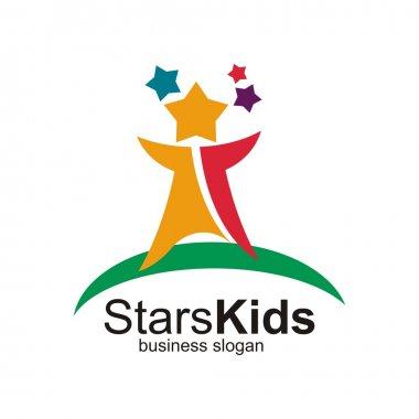 Star kids symbol creative design art logo vector