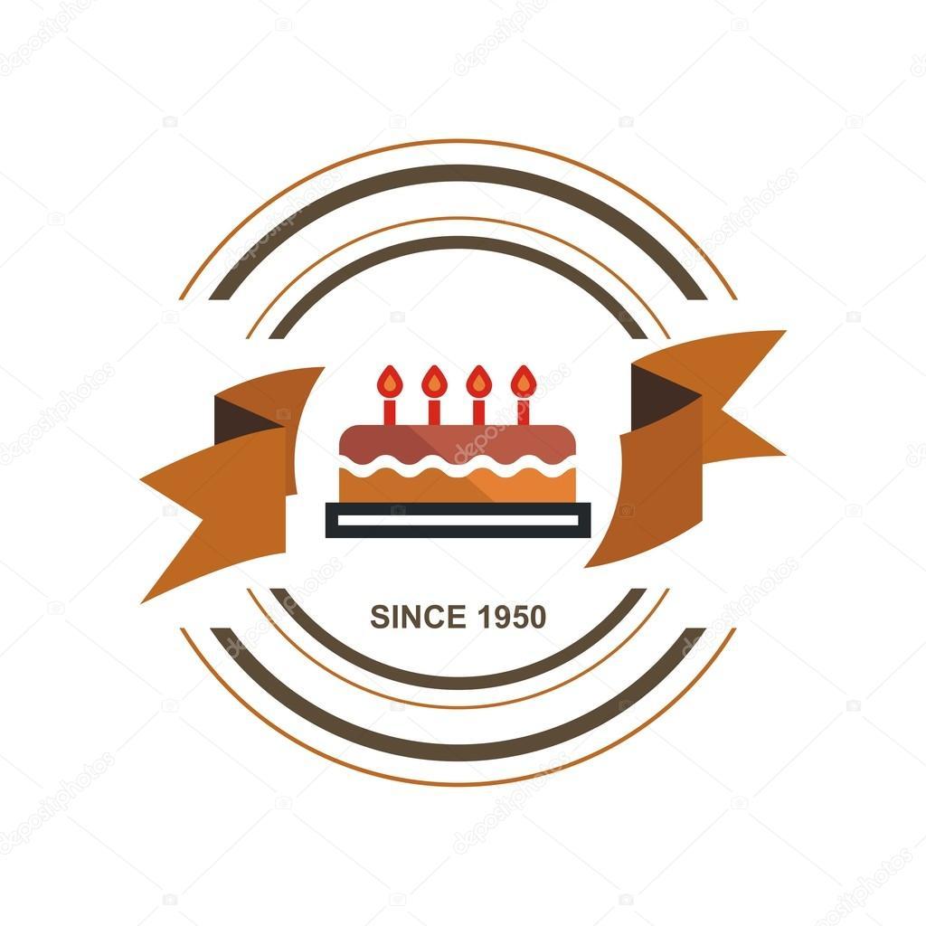 Birthday cake symbol text birthday cake logo symbol vector stock vector friendesigns buycottarizona