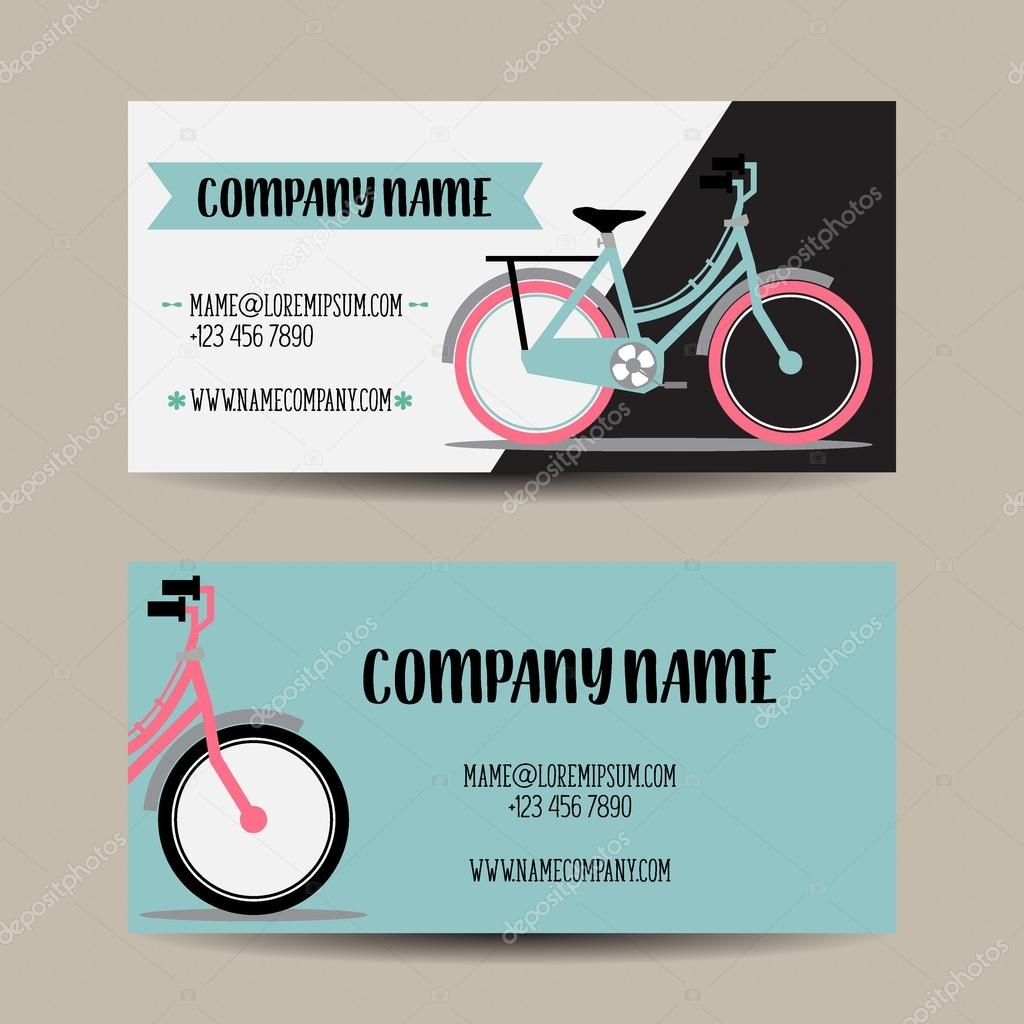 Business card with bicycle template — Stock Vector © Vstockphoto ...