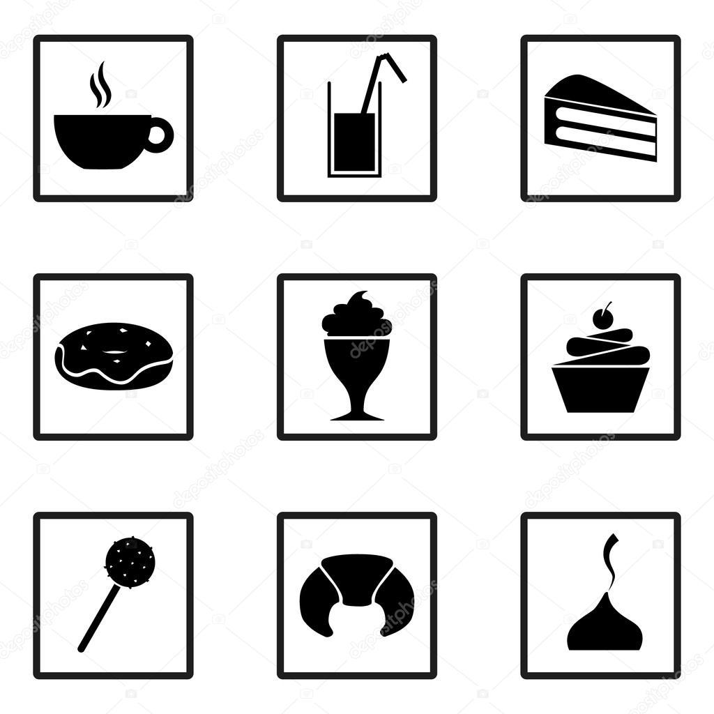Set Von Sussigkeiten Symbole Partei Lebensmittel Und Desserts Eis