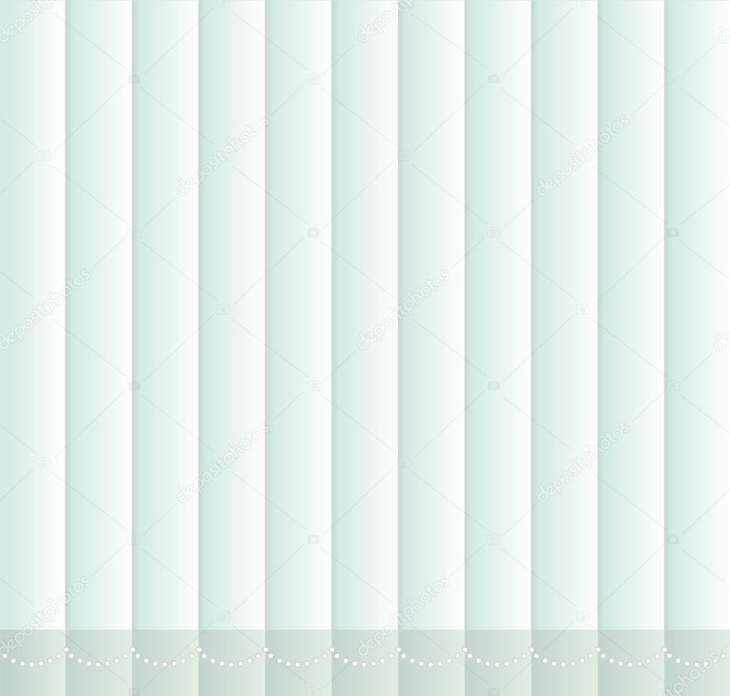 Window shutters. Office interior blinds. Window decor. Vertical window blind with chain. Vector illustration. Blue window blinds.