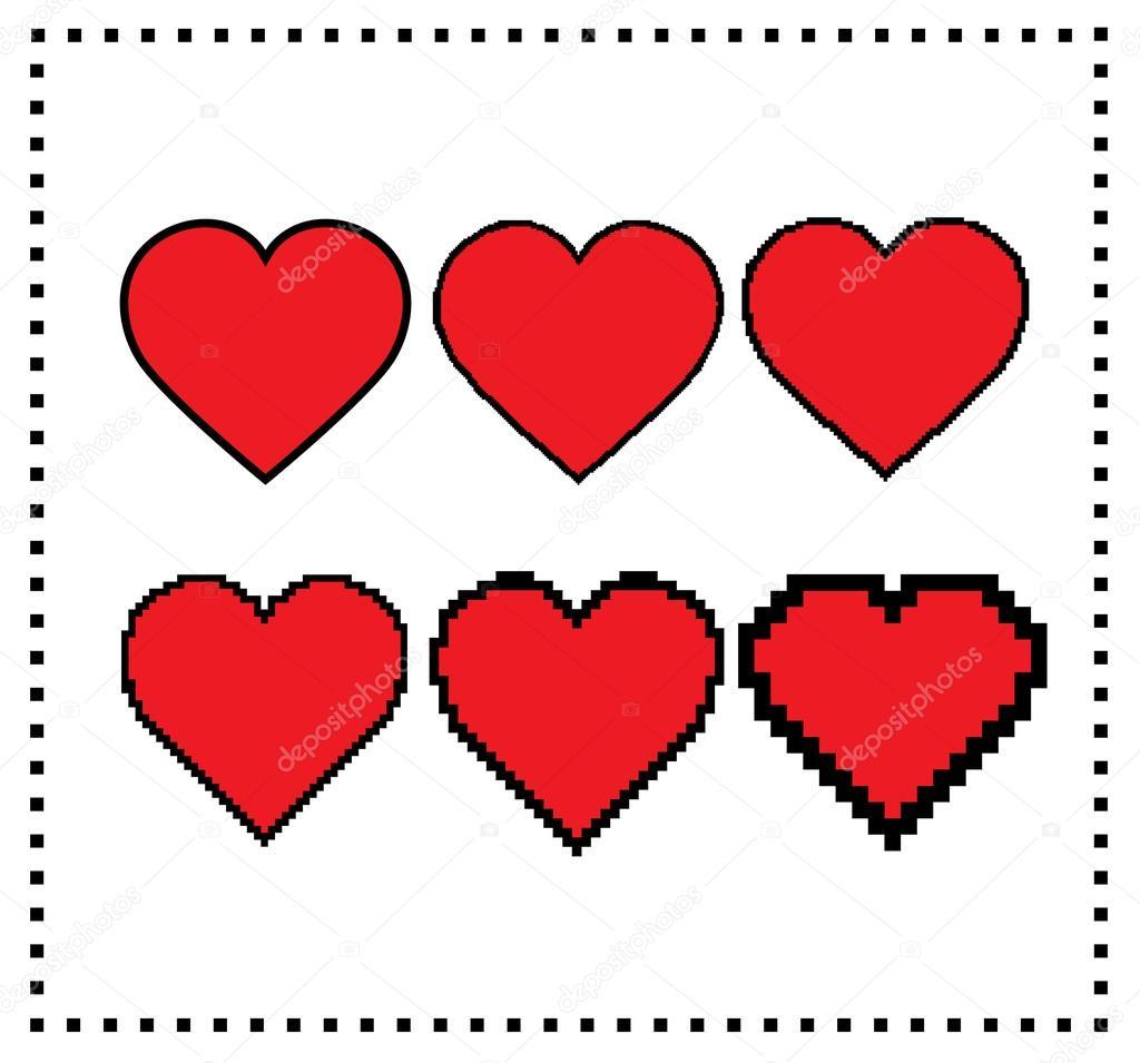 coeurs de pixel art  taille des pixels diff u00e9rents   coeur gros pixel  coeur petit pixel   u00c9l u00e9ment