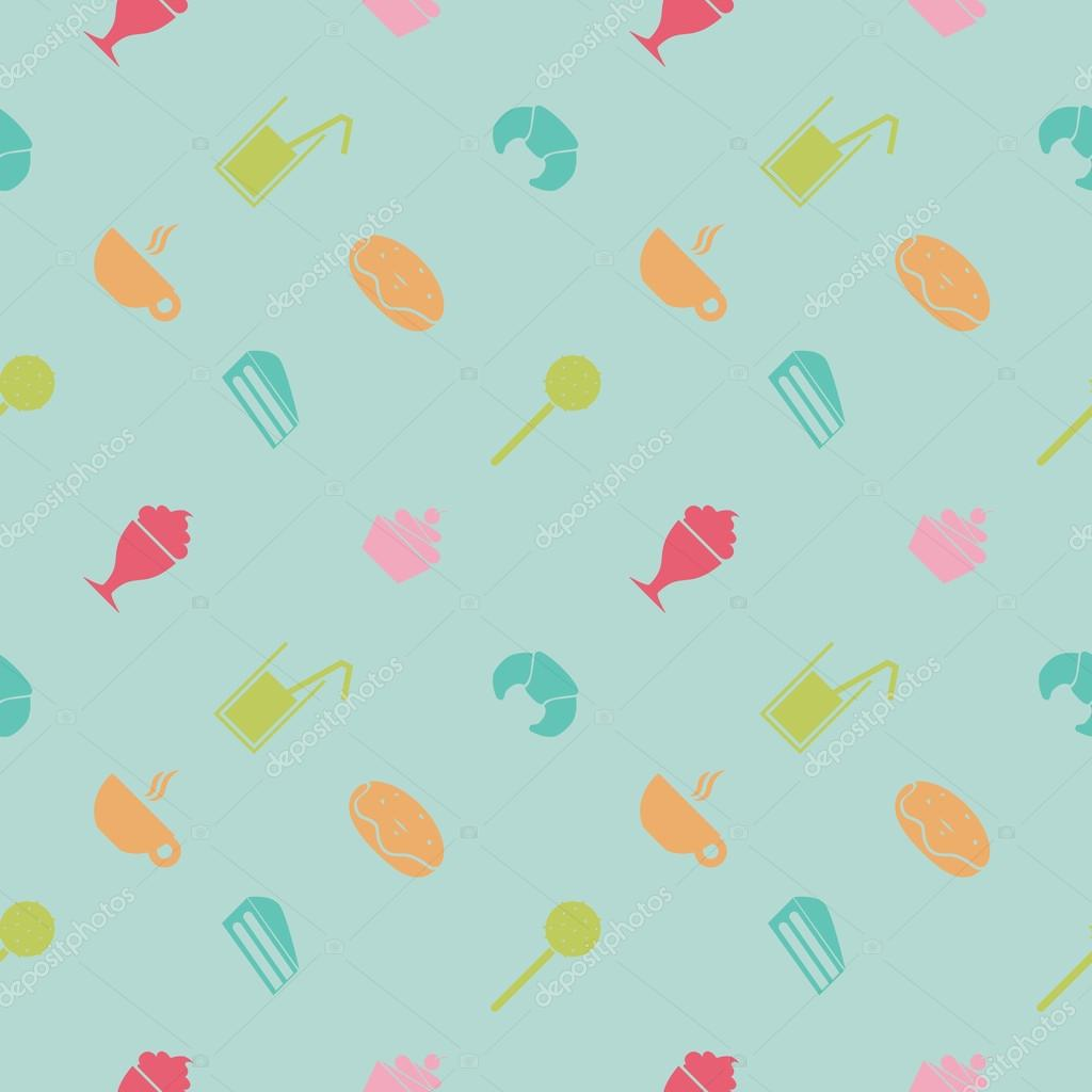 Sweet Ice Cream Flat Colorful Seamless Pattern Vector: Sweet Seamless Pattern. Party Food And Deserts: Ice Cream