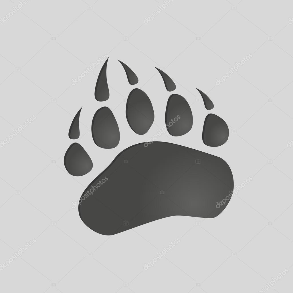 動物の足跡: クマの足。孤立したイラスト。熊の足のシルエット