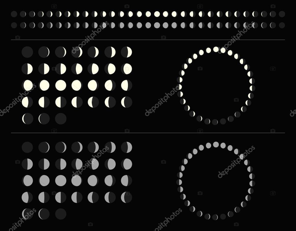 Calendario Lune.Illustrazione Lunare Set Di Luna Fasi Schemi Cerchio