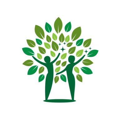 Vector Couple Green Tree Healing Concept